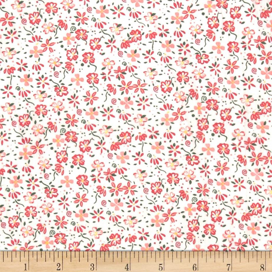 Printed corduroy 21 wale floral white pink discount for Kids corduroy fabric