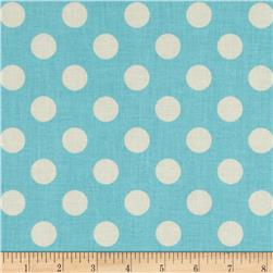 Riley Blake Le Creme Basics Medium Dots Aqua/Cream