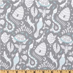 Michael Miller Backyard Baby Backyard Party Grey Fabric