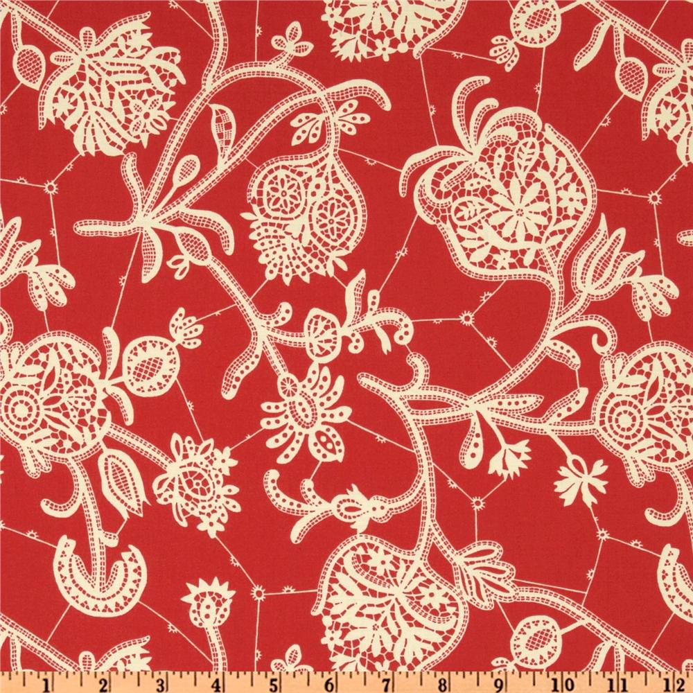 Amy Butler Lark Dreamer Souvenir Persimmon Red
