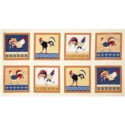 Cock-A-Doodle-Doo Blocks Panel Rooster