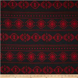 Sweater Knit Aztec Black/Burgundy