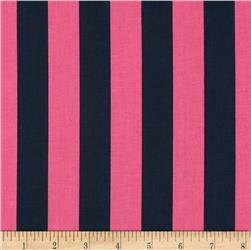 Riley Blake 1'' Stripe Navy/Hot Pink Fabric