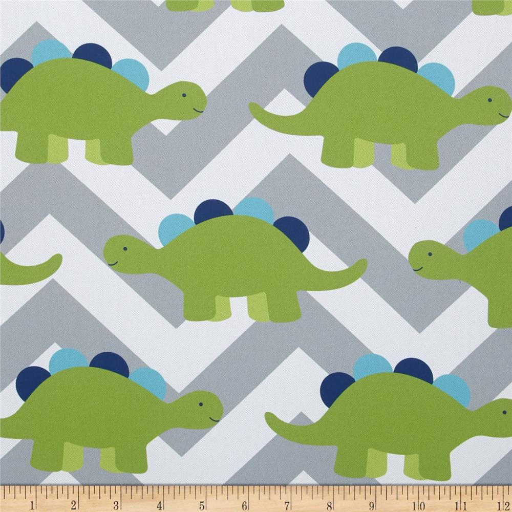 RCA Dinosaur Chevron Blackout Drapery Fabric Green/Grey