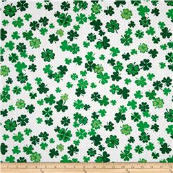 Kanvas Lucky Clovers Metallic Four Leaf Clover White