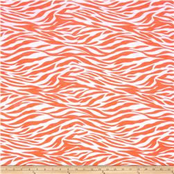 Lightweight Jersey Knit Mosaic Zebra Neon Orange