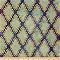 Indian Batik Metallic Honeycomb Light Cream/Purple/Blue