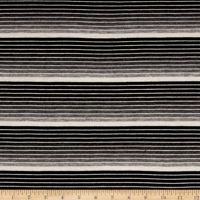 Jersey Knit Black/Grey Stripe Fabric By The Yard