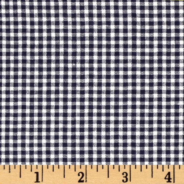 Woven Poly/Cotton Seersucker Gingham Navy Blue