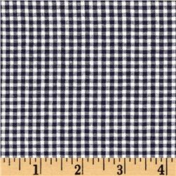 Woven Poly/Cotton Seersucker Gingham Navy Blue Fabric