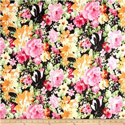 Printed Stretch Denim Multi Flowers Pink