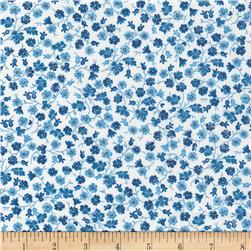 Timeless Treasures True Blue Calico White