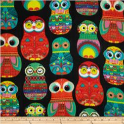 Girl Talk Fleece Matryoshka Owls Black