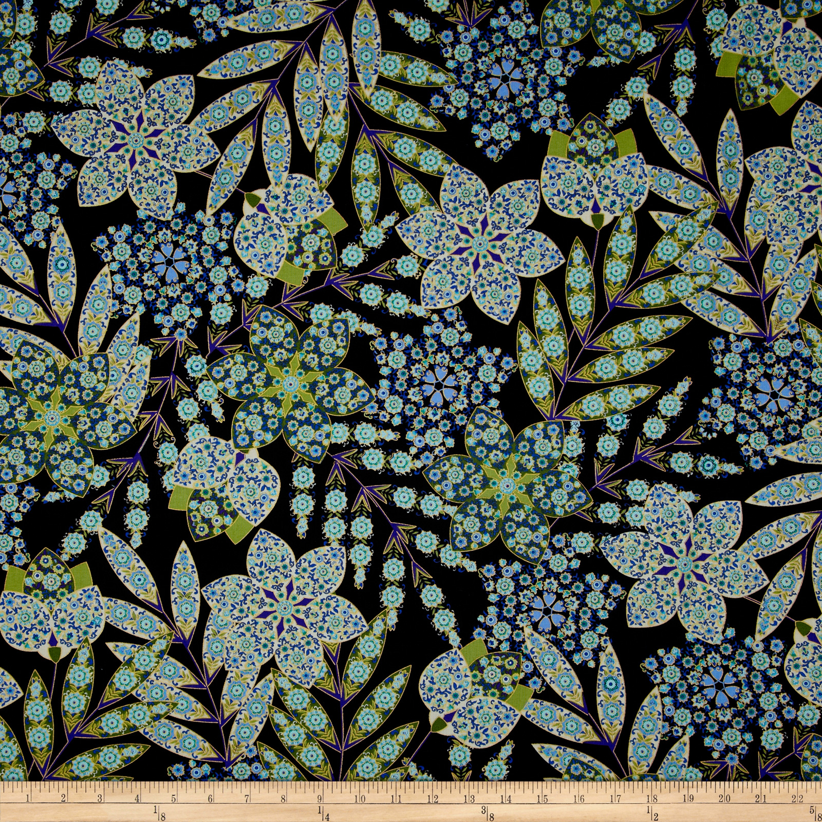 Imperial Gardens Metallic Imperial Gardens Blue Fabric