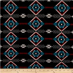 Jersey Knit Aztec Black Teal