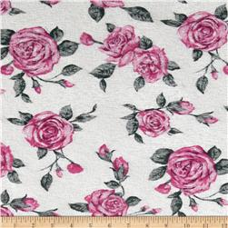 Onion Skin Knit Roses Fuchsia/White