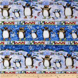 Winter Wonderland Metallic Penguins Stripe Blue