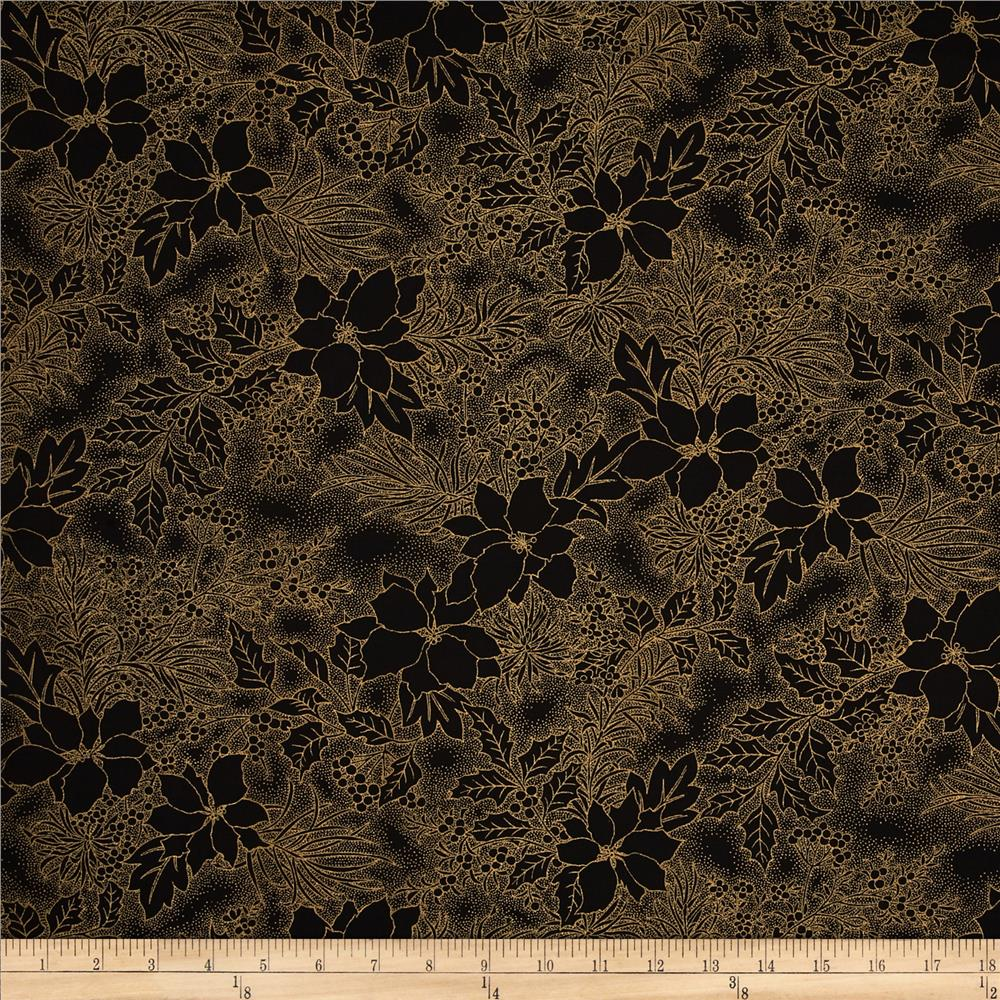 Moda Let it Glow Metallic 108 In. Quilt Back Poinsettia Ebony