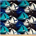 Fleece Print Nautical Sailboats Blue