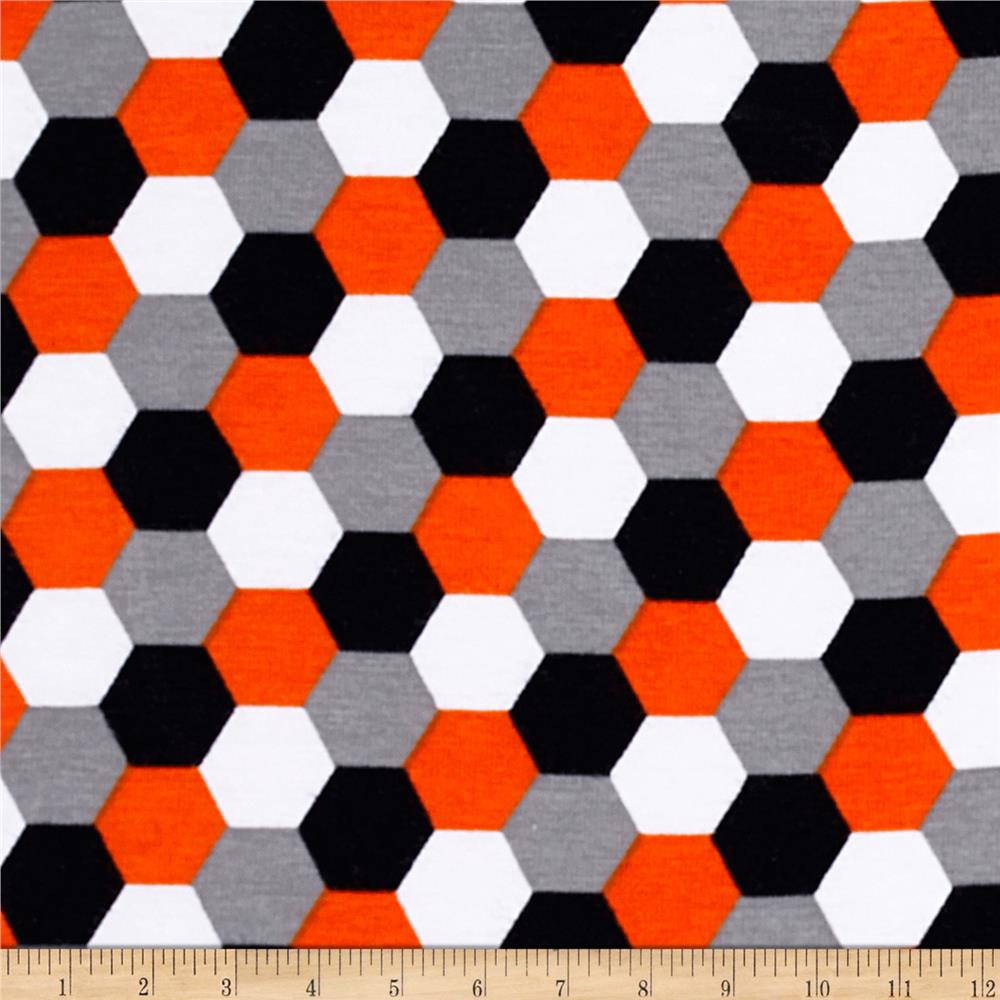 Laguna Stretch Cotton Jersey Honeycomb Tangerine