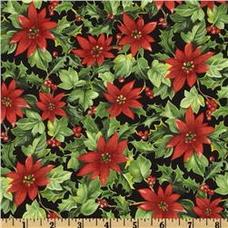 Moda Season's Greeting Poinsettia Black