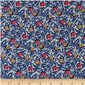 Liberty of London Kensington Crepe de Chine Huckleberry Blue/Coral/Grey