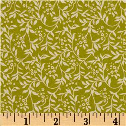 Love Notes Small Floral Vine Green Fabric