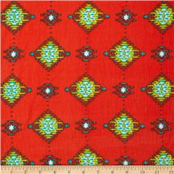 Stretch Rayon Jersey Knit Ikat Print Orange/Green Fabric