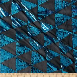 Sequin Mesh Triangles Aqua