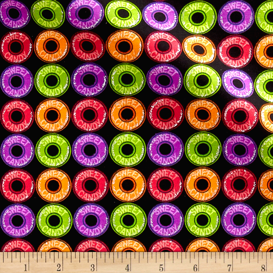 Glitter Sweet Candy Black Fabric by Fabric Traditions in USA