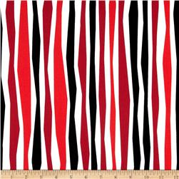 Jazz Jam Wavey Stripe Red/Black Fabric