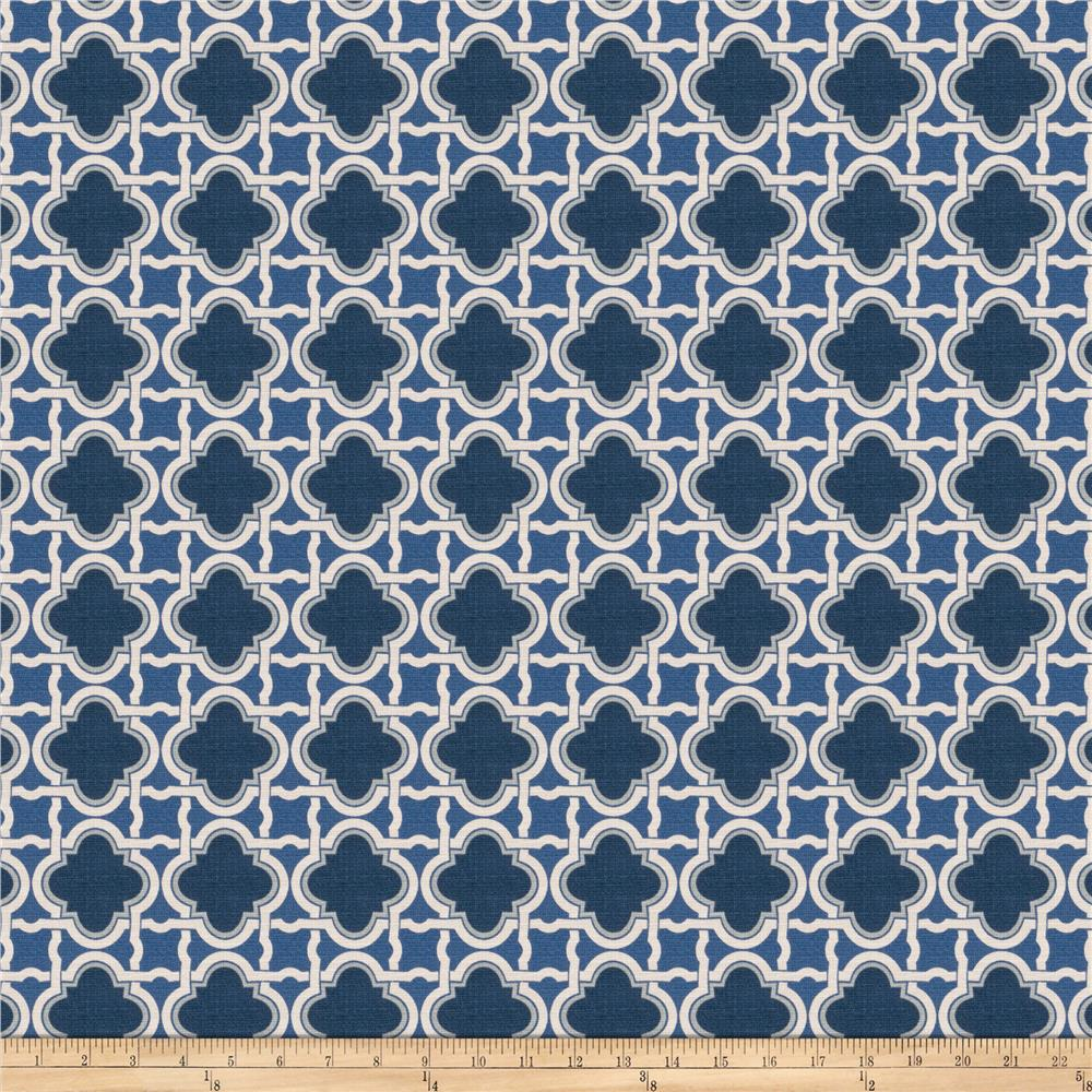 Fabricut Stock Lattice Barkcloth Navy