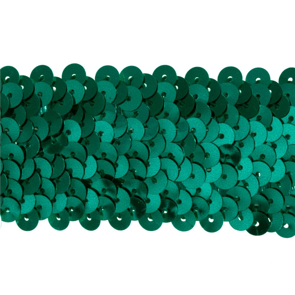 "1-1/2"" Metallic Stretch Sequin Trim Teal"