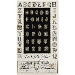 Letter Stitch Alphabet Panel Black