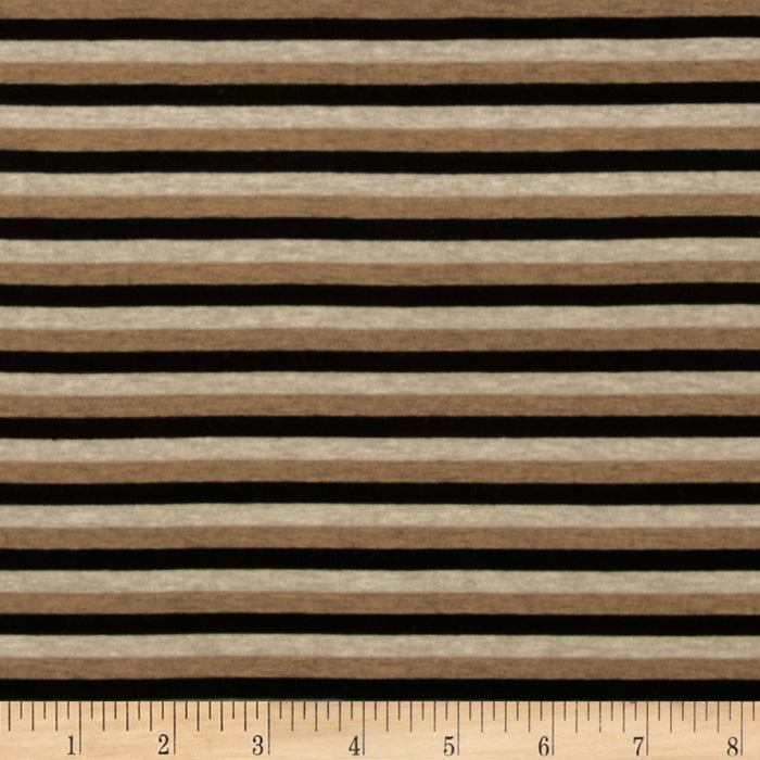 Designer Stretch Rayon Jersey Knit Stripe Black/Tan Fabric