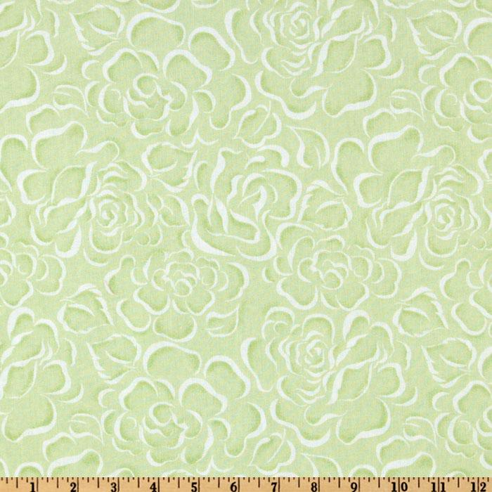 108'' Wide Flourish Quilt Backing Floral Lime/White