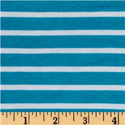 Rayon Spandex 1/2 X 1/4 Yarn Dyed Stripes Jersey Knit Turquoise/Ivory