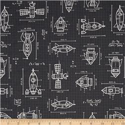 Kaufman Spaced Out Spaceships Drawings Grey