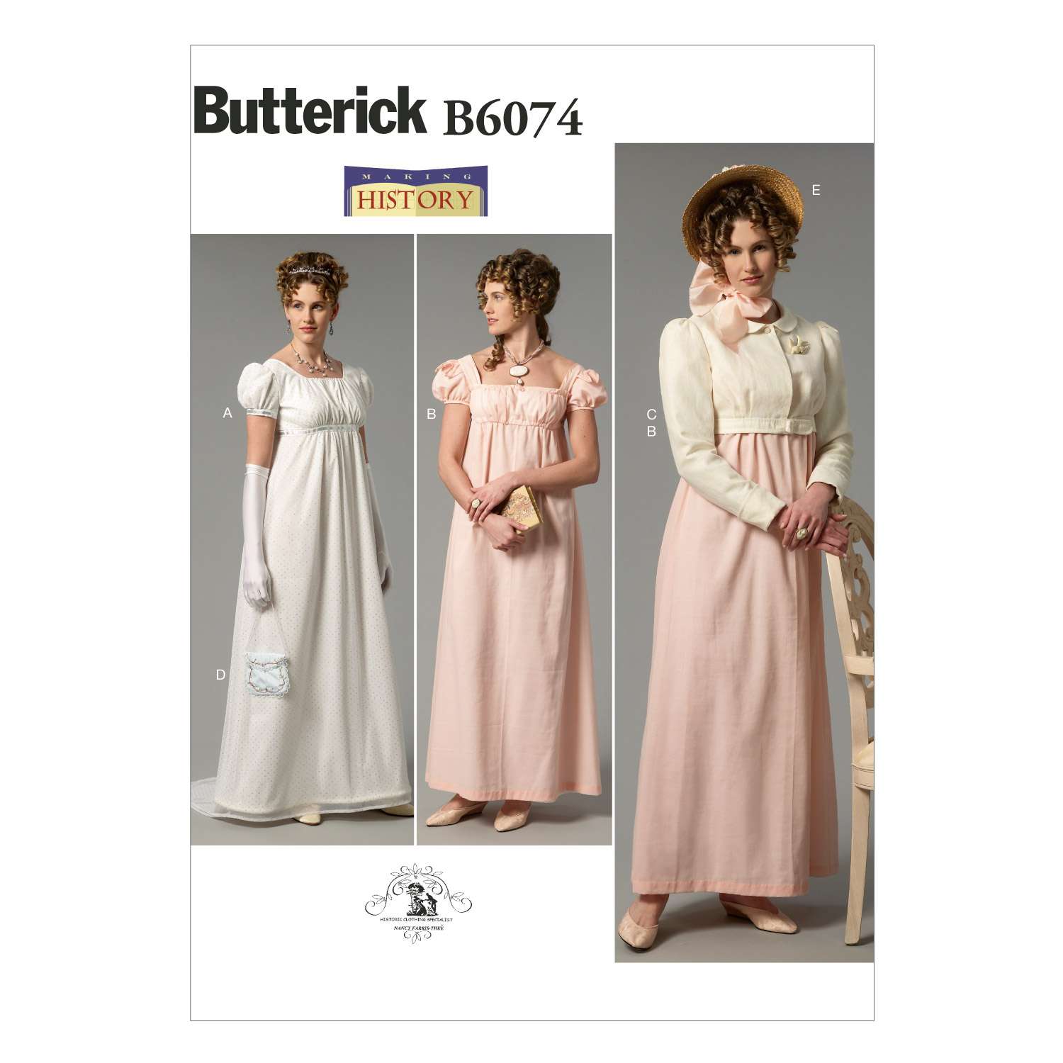 Steampunk Sewing Patterns- Dresses, Coats, Plus Sizes, Men's Patterns Butterick Misses Dress Jacket Purse and Hat Trim Pattern B6074 Size A50 $14.98 AT vintagedancer.com