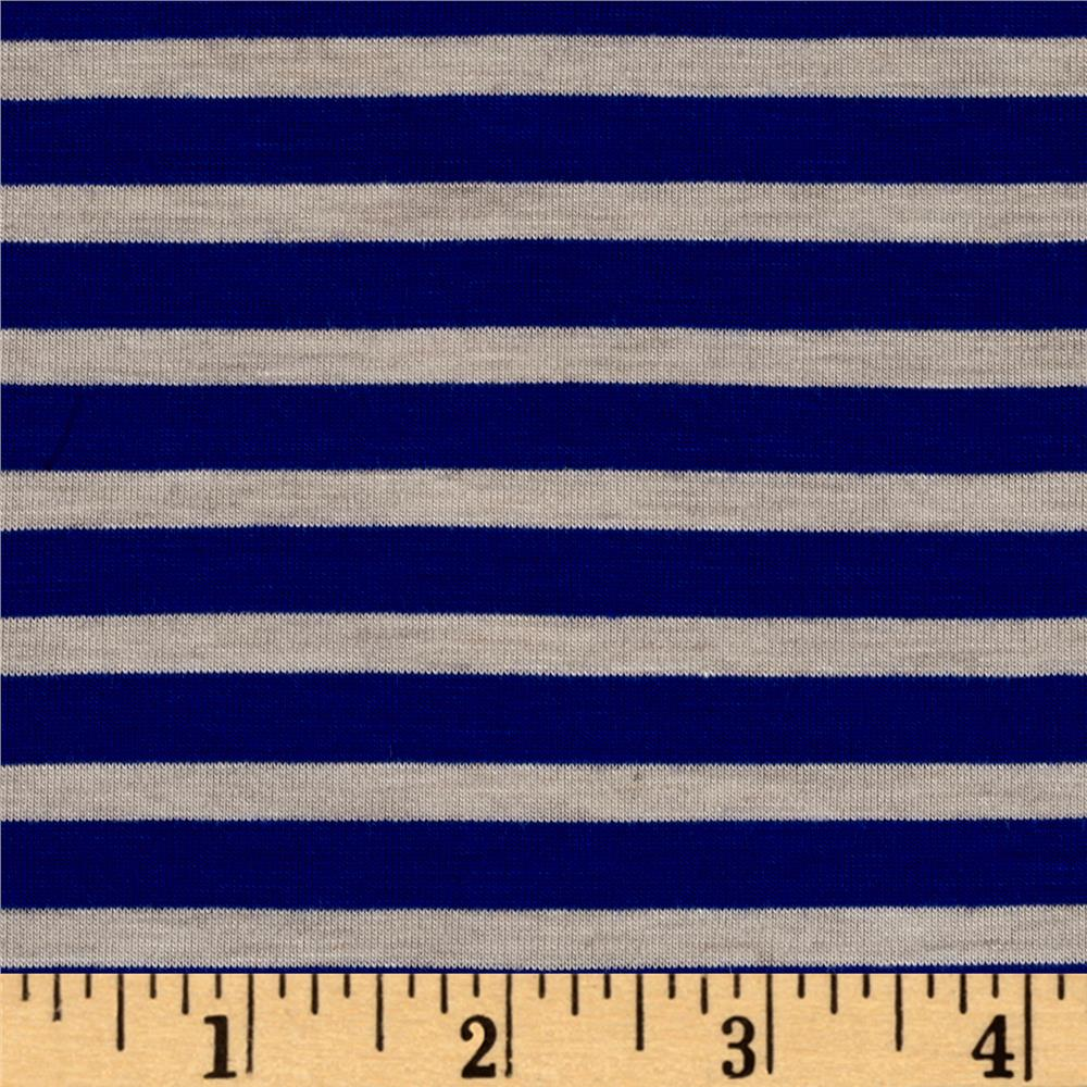 Rayon Spandex Jersey Knit 1/4 Stripe Royal/Oatmeal