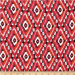 Rayon Challis Ikat Diamonds Red
