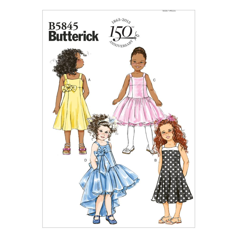 Butterick children 39 s girls 39 dress pattern b5845 size cdd for Childrens dress fabric