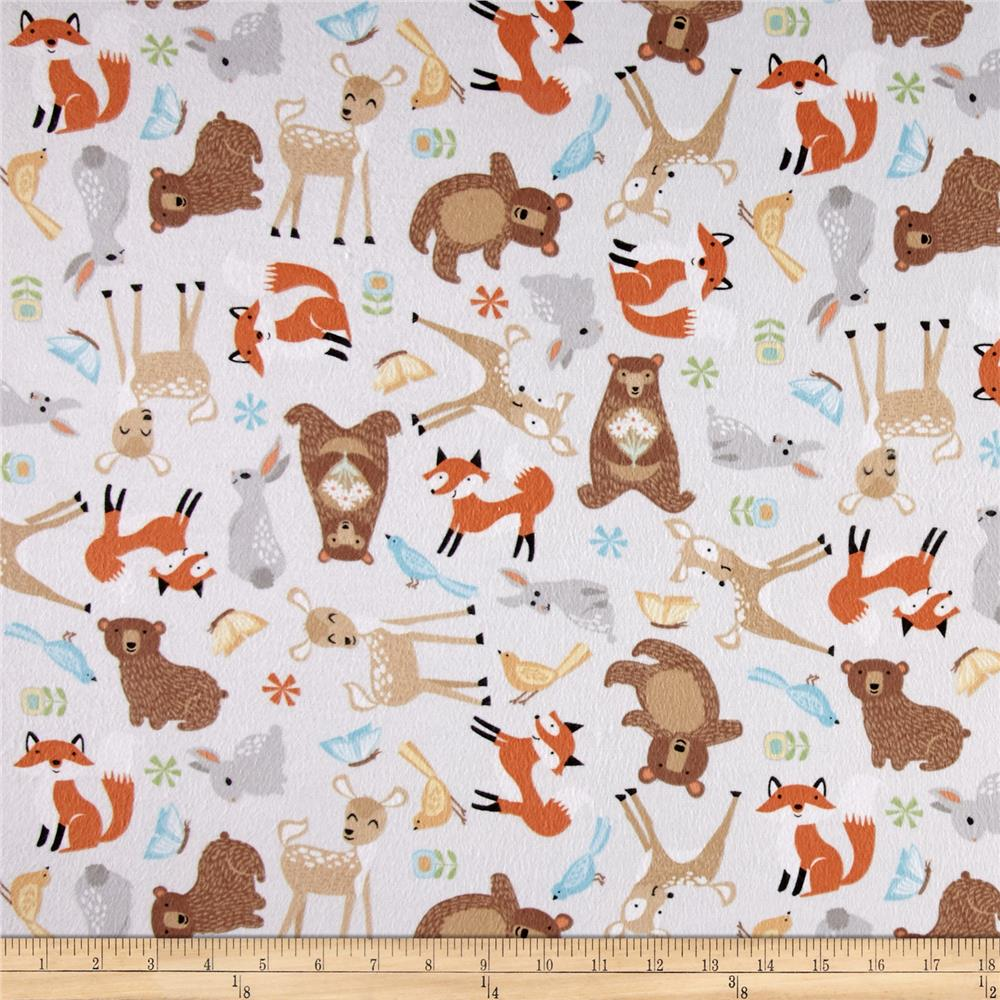 Sweet meadow flannel baby animals gray discount designer for Grey baby fabric