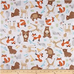 Sweet Meadow Flannel Baby Animals Gray