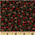 Crepe De Chine Tiny Floral Black