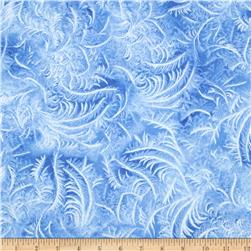 Timeless Treasures Frozen Winter Blues Metallic Feathers Blizzard