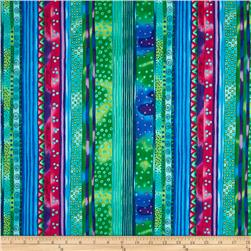 Laurel Burch Dogs & Doggies Stripe Dark Aqua