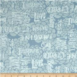 Bali Batiks Handpaints Words & Flowers Frost
