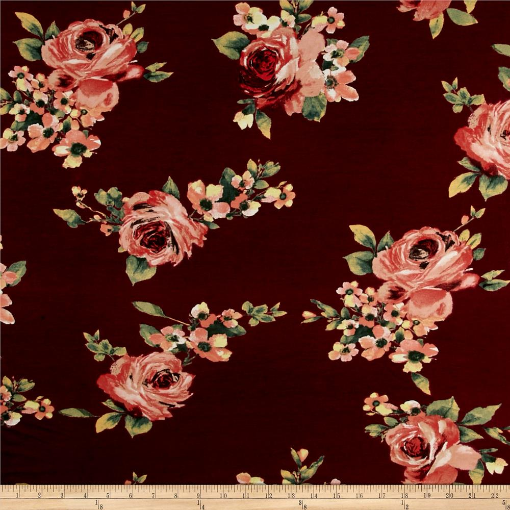 Rayon Spandex Jersey Knit Floral Oxblood/Rose Quartz Fabric