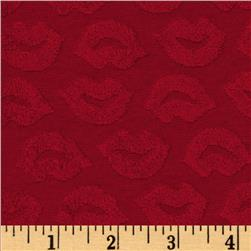 Stretch Cotton Blend Knit Terry Cloth Embossed Lips Red